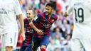 Neymar scores for Barça in this season's first El Clásico at the Bernabéu on 25 October 2014. / MIGUEL RUIZ-FCB