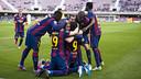 El Barça B celebrando el gol de Patric / VICTOR SALGADO-FCB