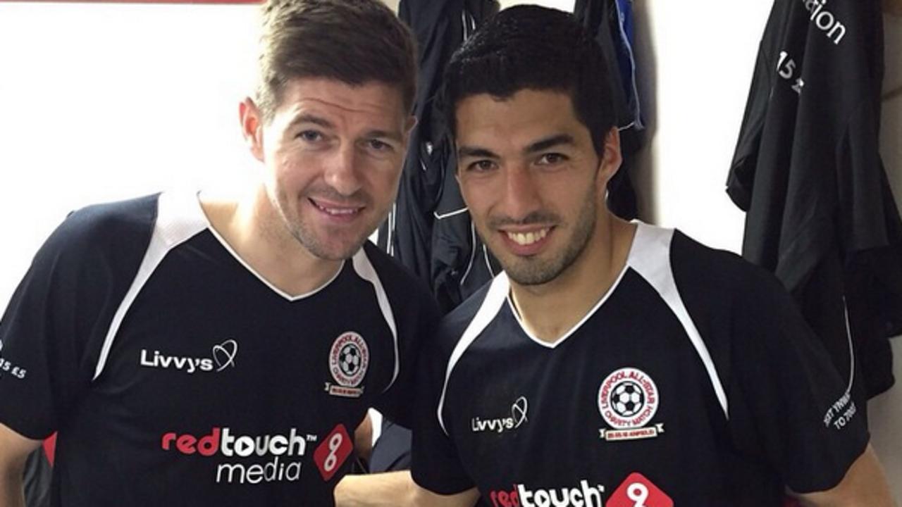 Steven Gerrard and Luis Suárez at Anfield
