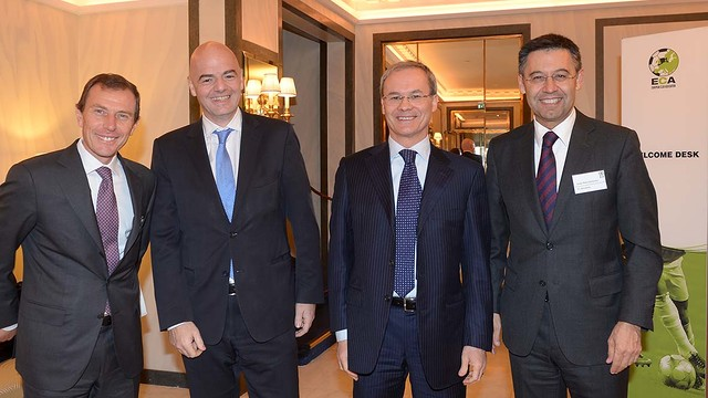 Josep Maria Bartomeu, with Emilio Butragueño (Real Madrid), Gianni Infantino (UEFA General Secretary)  and Giorgio Marchetti (UEFA Competition director), today during the ECA General Assembly.