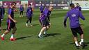 Mathieu, protagonista en Vigo, durante el entrenamiento de este lunes / MIGUEL RUIZ-FCB