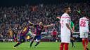 Messi et Xavi lors du match aller au Camp nou / MIGUEL RUIZ - FCB