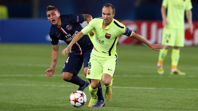Andrés Iniesta during the Club's last game at the Parc des Princes / MIGUEL RUIZ-FCB