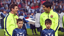 Messi i Suárez somriuen just abans de començar el matx a París / MIGUEL RUIZ - FCB