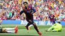 Luis Suárez celebrates his first-minute goal against Valencia at Camp Nou on Saturday 18 April 2015. / MIGUEL RUIZ-FCB