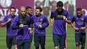 Xavi Hernández trains along side his teammates on Friday at the Ciutat Esportiva in Sant Joan Despí. / MIGUEL RUIZ - FCB