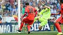 Messi scores Barça's second goal in Saturday's 2–0 derby win over cross-town rivals RCD Espanyol. / MIGUEL RUIZ - FCB