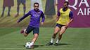 Xavi et Montoya, ce matin / MIGUEL RUIZ - FCB