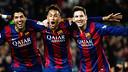 Luis Suárez, Neymar Jr and Lionel Messi celebrate a goal against Atlético Madrid. / MIGUEL RUIZ-FCB