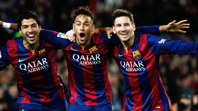 Suárez, Neymar Jr and Messi celebrate scoring against Atlético / MIGUEL RUIZ-FCB