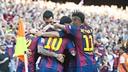 Les joueurs célèbrent le but inscrit contre la Real Sociedad / VÍCTOR SALGADO-FCB