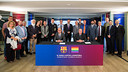 Cardoner, Pont, and representatives from society during the signing ceremony at Camp Nou. / GERMÁN PARGA / FCB