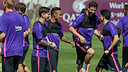 Messi, Neymar, Piqué et Bartra à l'entraînement / ARCHIVES FCB
