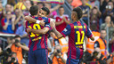Messi, Rafinha, and Neymar Jr. celebrate Barça's first goal against Deportivo on Saturday at Camp Nou. / VÍCTOR PARGA-FCB