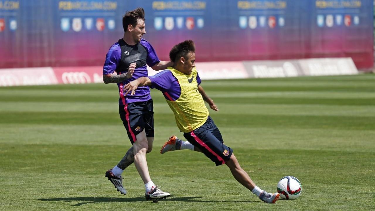 Messi e Neymar, no treino desta quarta / MIGUEL RUIZ-FCB