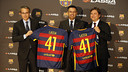Javier Faus, Josep M. Bartomeu and Hakan Bayman during the event to mark the signing of the partnership agreement with Lassa Tyres / MIGUEL RUIZ - FCB