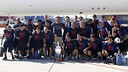 Fotografia dos campeões da Europa no Aeroporto El Prat, de Barcelona