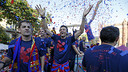 Lucho celebra el triplet / MIGUEL RUIZ - FCB