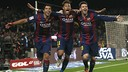 Suárez, Neymar Jr et Leo Messi après le but /Albert Gea (Reuters)