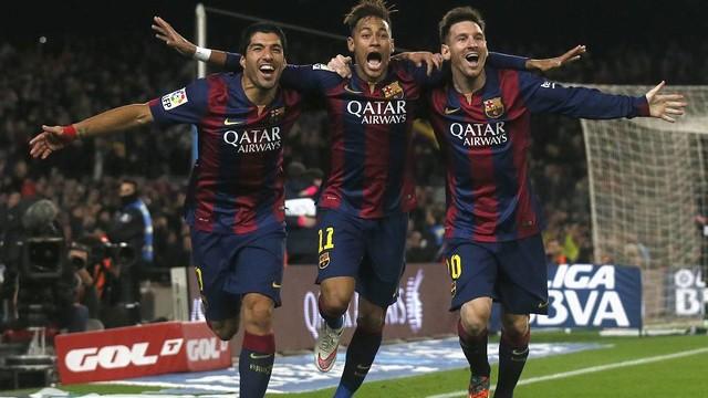 Suárez, Neymar Jr. e Leo Messi na famosa foto do gol contra o Atlético de Madrid