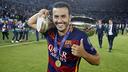 Pedro, avec le trophée / Miguel Ruiz FCB