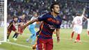 Pedro célèbre son but qui donne la victoire au Barça en Supercoupe d'Europe 14/15