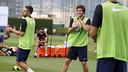 Sergi Roberto, en un ejercicio del entrenamiento de esta mañana / MIGUEL RUIZ - FCB