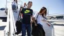 Andrés Iniesta, and his wife arriving at Nice airport / MIGUEL RUIZ - FCB