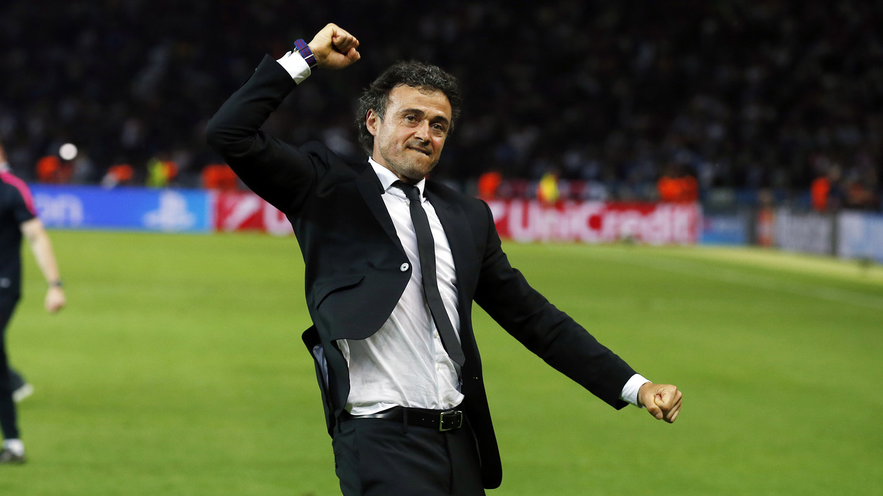 Luis Enrique in celebratory mood / MIGUEL RUIZ-FCB