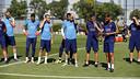 Gerard López, du Barça B, et Luis Enrique, dirigent la séance / MIGUEL RUIZ-FCB