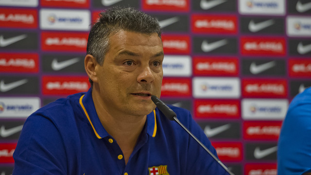 Xavi Pascual, en roda de premsa / ARXIU FCB