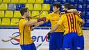 Los jugadores del Barça Lassa celebrando un gol en la Lliga Catalana. FOTO: Arxiu FCB
