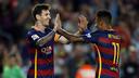 Neymar and Messi celebrate one of Barça's goals against Levante. / MIGUEL RUIZ - FCB