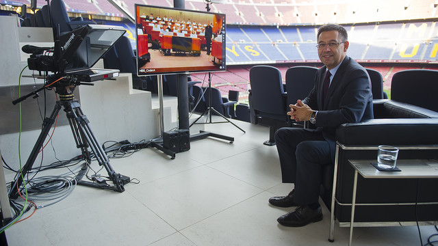 Josep Maria Bartomeu during his video conference with Harvard / VÍCTOR SALGADO-FCB