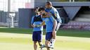 Suárez, Piqué Y Neymar en el último entrenamiento del Barça / MIGUEL RUIZ-FCB