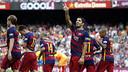 Luis Suárez celebrates scoring against UD Las Palmas / MIGUEL RUIZ