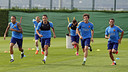 Neymar, Adriano, Sergi Roberto et Douglas à l'entraînement/ MIGUEL RUIZ - FCB