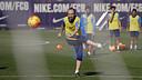 Andrés Iniesta pendant l'entrainement d'aujourd'hui / MIGUEL RUIZ - FCB
