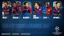 Montagem com as fotos dos seis maiores artilheiros do Barça na Champions.