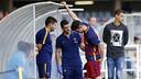 David Babunski, just després de patir la lesió aquest diumenge / MIGUEL RUIZ-FCB