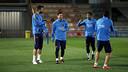 Piqué, Messi, Neymar and Suárez before the start of training / MIGUEL RUIZ - FCB