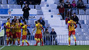 Imagen de la celebración de uno de los goles de la victoria del filial la temporada pasada / ARCHIVO FCB