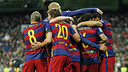 Le Barça célèbre un des buts au Bernabeu/ MIGUEL RUIZ - FCB