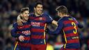Messi, Suárez and Piqué celebrating against AS Roma / MIGUEL RUIZ - FCB