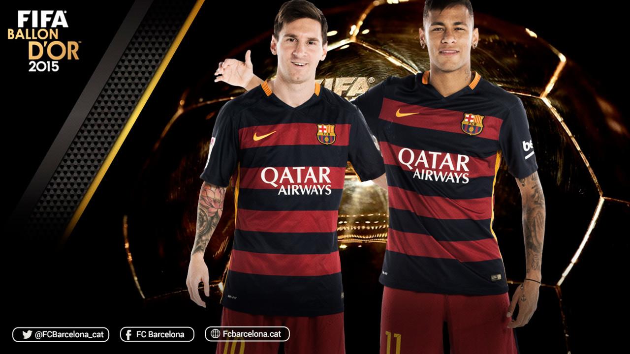 Leo Messi i Neymar Jr, finalistes a la Pilota d'Or 2015 / FOTOMUNTATGE FCB