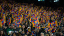 The fans during a game at the Camp Nou