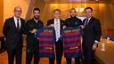 Cardoner, Turan, Gates, Vidal and Bartomeu after the meeting at the Grand Hyatt Hotel in Tokyo / GERMÁN PARGA - FCB