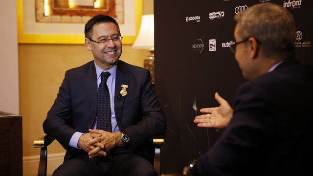 Josep Maria Bartomeu, during the interview with MBC's Mustafa Agha / MIGUEL RUIZ - FCB