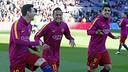 Neymar, Suárez i Messi, somrients abans del partit / MIGUEL RUIZ - FCB