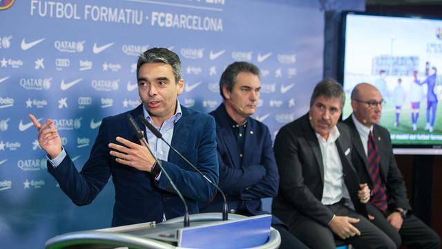 Albert Soler, Josep Segura, Jordi Roura and Xavi Llorens at the presentation of the youth football mode/ GERMAN PARGA - FCB